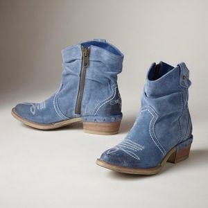 Sundance Blue Storm Etta Suede Boots size 9